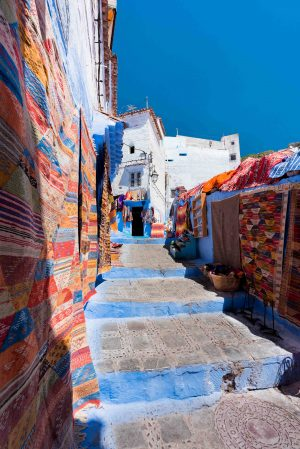 Chefchaouen, Blue City, Morocco, Moroccan, Moroccan Rug, Rugs, Colour, Blue, Street Photography, Brad Geddes Photography, Travel Photography