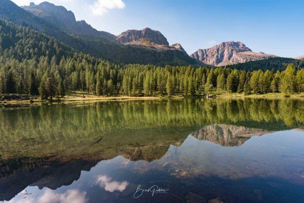 Dolomites, Moena Passo, Lake, Reflection, Dolomiti, Italy, Italia, Europe, Euro, Mountains, Mirror Reflection, Brad Geddes Photography