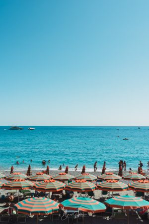 Monterosso al Mare, Italy, Cinque Terre, Italia, Europe, Summer, Umbrella, Ocean, Beach, Beach Days, Swimming, Blue Sky, Brad Geddes Photography