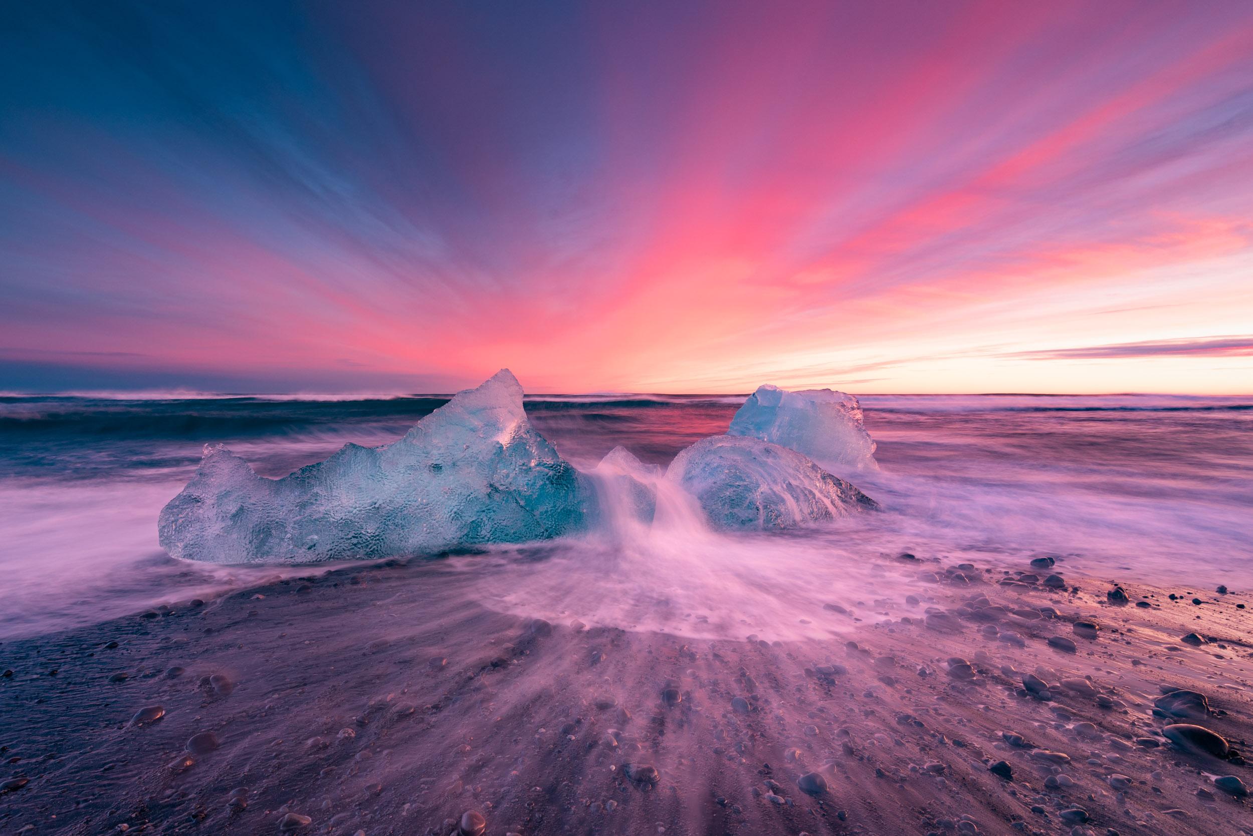 Diamond Beach Iceland, Iceland, Diamond Beach, Sunset, Long Exposure, Ice Beach, Ice, Ocean, Brad Geddes Photography, Brad Geddes