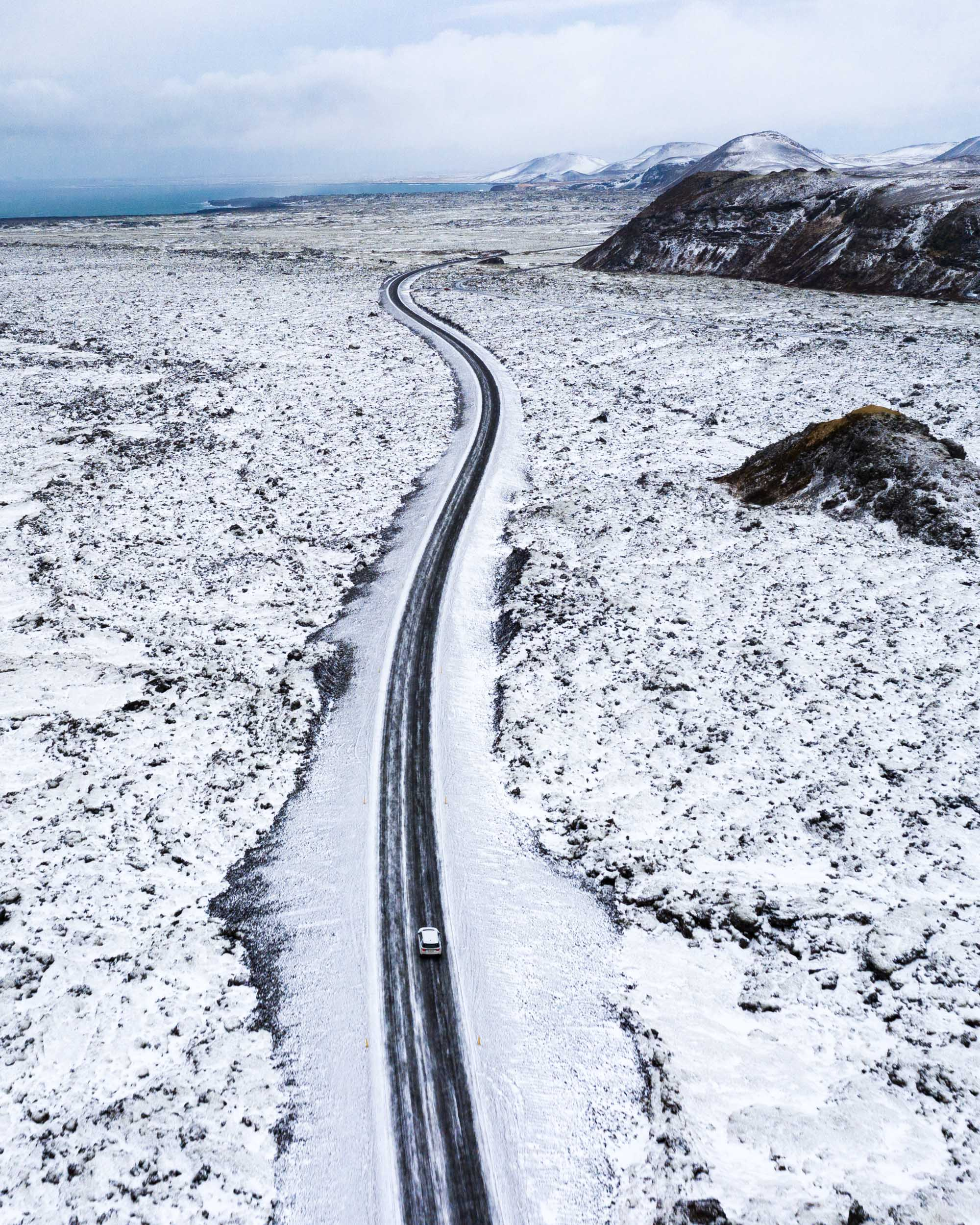Iceland, Iceland Aerial, Winter, Open Road, Drone Photography