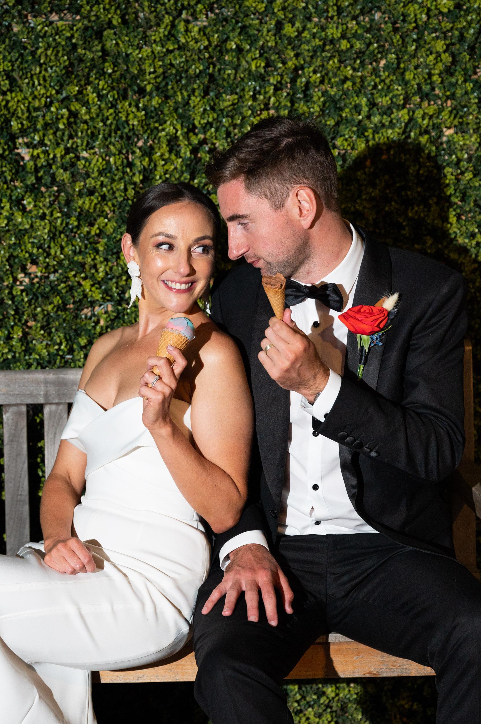 wedding, bride & groom, Melbourne Wedding, Ice cream