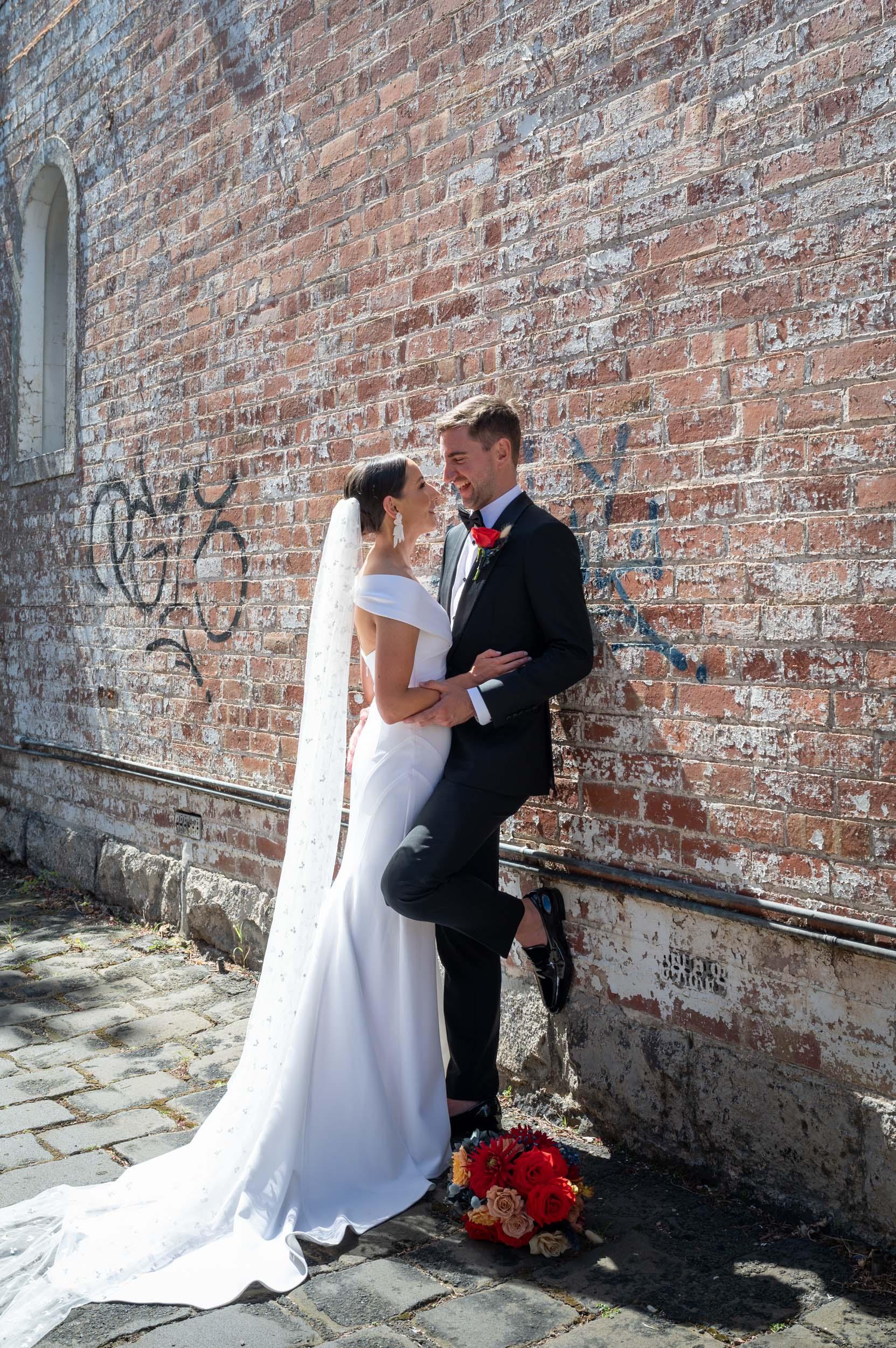 Wedding, Bride & Groom, Wedding Day, Bridal Shoot, Melbourne Wedding, Brad Geddes Photography, Melbourne Laneway, Laneway Wedding Shoot, Georgia Young Couture, Love Alfalfa Florals
