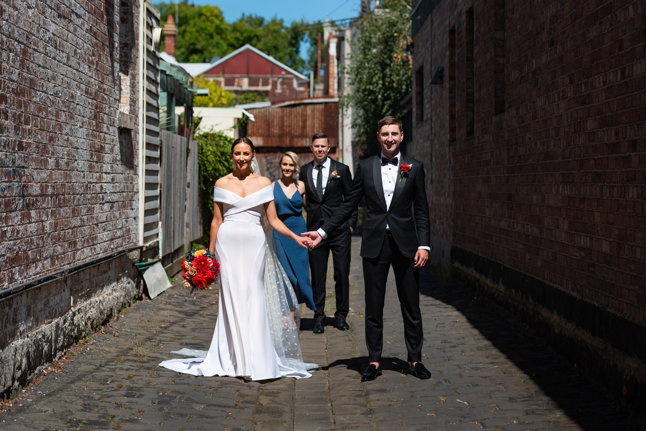 Bridal Party, Bridal Shoot, Wedding Day, Georgia Young Couture, Brad Geddes Photography, Love Alfalfa Florals, Melbourne Laneway, Melbourne Wedding